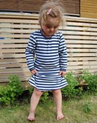 Kjole, blå:hvit striper