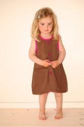 Kjole, brun:rosa